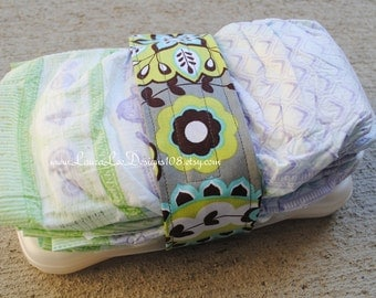 READY TO SHIP, Turquoise and Lime Floral Diaper Strap, Baby Shower Gift, Diaper Holder, Diaper Bag Organizer, Flowers, Diaper Keeper
