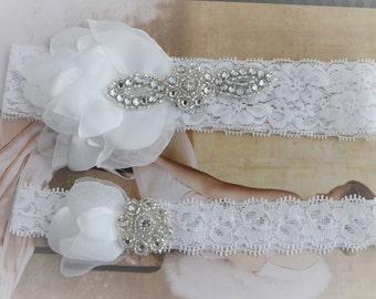 Bridal White Petal Lace Garter, Stretch lace garter set,Vintage Garter, Flower petal garter, white lace garter, Gatsby, bohemian