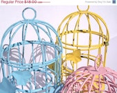 ON SALE - Decorative Bird Cages (3) - painted aqua blue, cotton candy pink, sunny yellow - leaf motif - scrolly detail birdcage upcycled sha