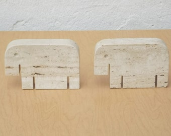 Flli Mannelli Travertine Modern Elephant Bookends, Made in Italy,1970s