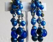 Vintage 50s Laguna Blue Bead Aurora Borealis Designer Silver Drop Dangle Earrings
