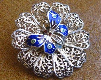 Vintage Sterling Silver & Enamel Butterfly Filigree Brooch Pin
