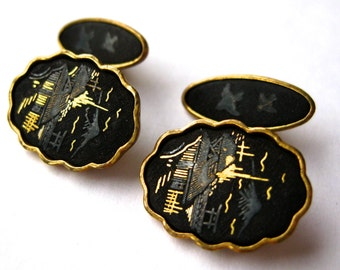 Vintage 40s 50s Damascene Gold Filled Amita Japan Cufflinks