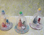 Dome Ornaments Cloche with Bottle Brush Trees Snowman Mushroom Snow Globe Terrarium - laughterandlemondrop
