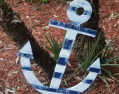 Nautical Decor, Large Wooden Anchor, Beach-y Style, Wall Hanging