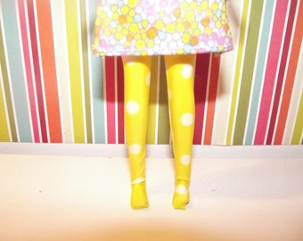 Bright yellow with white polka dots tights leggins for DAL doll