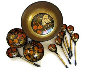 Vintage Khokhloma Wood Lacquer Handpainted Bowls Spoons Russian Folk Art - Ladle Bowls Spoons