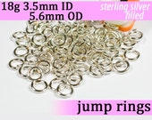18g 3.5mm ID 5.6mm OD silver filled jump rings -- 18g3.50 jumprings jewelry findings supplies links