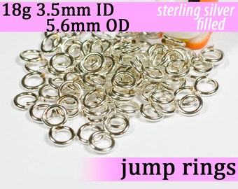 18g 3.5mm ID 5.6mm OD silver filled jump rings -- 18g3.50 jumprings