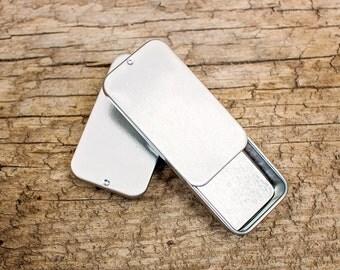 Rectangle Slider Tins - Set of Ten - Silver