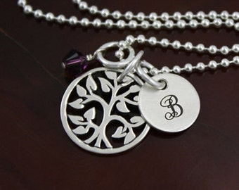 My Tree of Life II Necklace - Mommy / Grandma Jewelry -  Sterling Silver