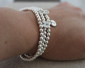 sterling silver bead stretch bracelets | set of 3 stacking bracelets | 3 initials bracelet | stamped initials |mommy jewelry