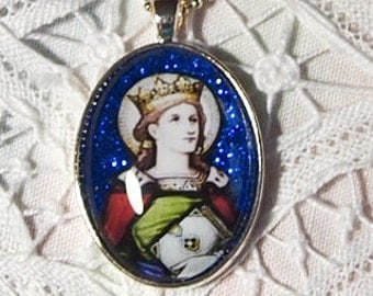 St. Margaret of Scotland glass pendant