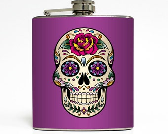 Day of the Dead Flask Skull Purple Flower Heart Retro Tattoo Adult 21st Women Birthday Gift Stainless Steel 6 oz Liquor Hip Flask LC-1471