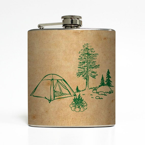 Camping Tan Tent Whiskey Flask Campfire Pine Tree Outdoors Hiking Backpacking Groomsmen Gift Stainless Steel 6 oz Liquor Hip Flask LC-1029