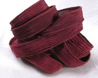 Hand Dyed Silk Ribbons - Crinkle Silk Jewelry Bracelet Fairy Ribbon - Quintessence - Wine