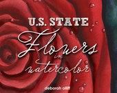 U.S. State Flowers in Watercolor, collection, professionally printed, softbound book