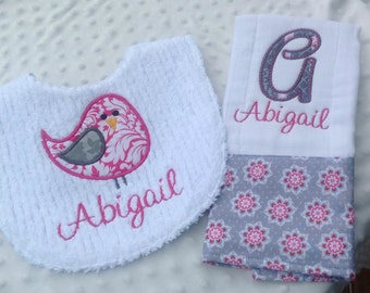 Baby Girl Personalized 2 Piece Gift Set  - Bib and Burp Cloth-Pink Gray Floral Damask