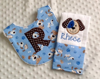 Baby Boy Personalized  Gift Set  - Bib and Burp Cloth, Smiling Puppy Face