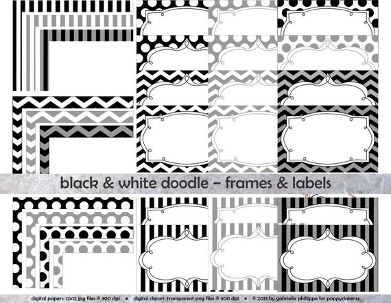 Black & White Doodle Frames and Labels: Clip Art by ...