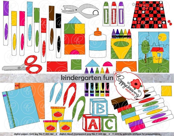 Kindergarten fun school supply clipart 300 dpi transparent for Art n craft from waste