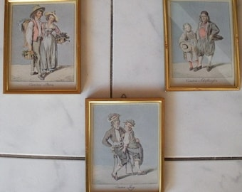 SET of 3, Art, Swiss Folk Dress Costume Prints, Pictures, Framed to Hang on Wall