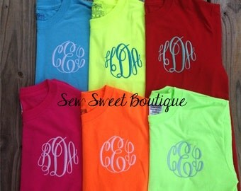 LaSt DaY SALE Monogram Tee Shirt embroidered monogrammed