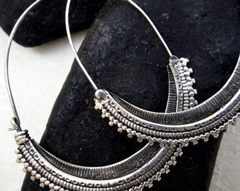 SAW HOOPS sterling hand crafted artisan earring tribal ethnic boho chic asian