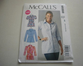 Pattern Ladies Shirts 4 Styles Sizes 6 to14 McCalls 6898