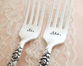 "Mr. & Mrs. with date and name. vintage wedding cake bride and groom ""gay adventure"" salad forks, hand stamped"