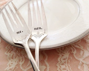 Mr & Mrs hand stamped vintage cake forks, with date on handle. Adam