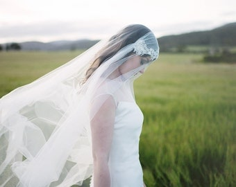 Dramatic Juliet cap veil with a blusher and embroidered lace -Cathedral length ivory veil -Kate moss style veil
