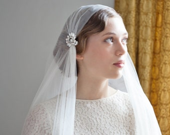 Ivory Wedding Veil Juliet Cap Style Art Deco Bridal