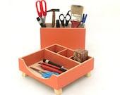 FREE SHIPPING - Desktop Organizer,Desk Organizer, Desktop Set, Wooden Desk set, Orange Boxes, Office Accessories,