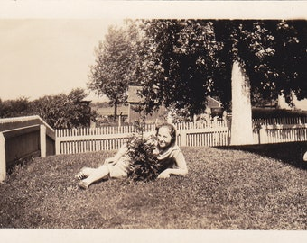 Vintage Photo - Girl With Flowers - Vintage Photograph, Vernacular, Found Photo  (1C)