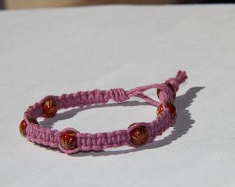 Pink Hemp Beaded Bracelet