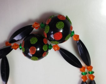 Green, Orange, and Black Spotted Necklace