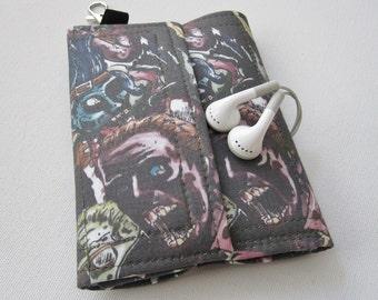Nerd Herder gadget wallet in Zombie Horde (wine) for iPhone 5, Android, iPhone 6, guitar picks, digital camera, earbuds