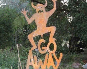 Go Away Metal Yard or Garden Stake Sign Halloween Monster