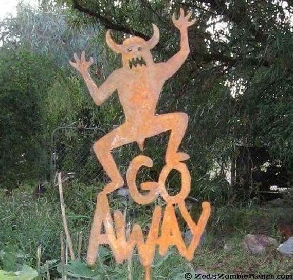 Go Away Metal Yard or Garden Stake Sign Halloween Monster