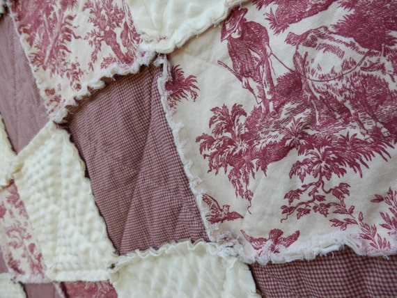 Toile King Bedding: California King Size Red Toile Rag Quilt By