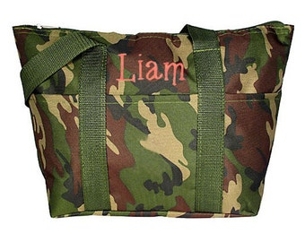 Personalized Insulated Lunch Tote Woodland Camouflage Design