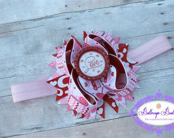 Valentine's bow headband, valentines day bow headband, valentine's day bow headband, OTT Valentine's bow headband, baby valentine's headband