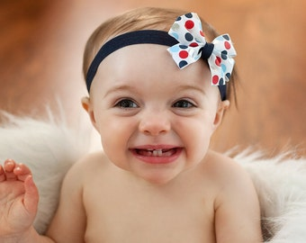 Baby headband, 4th of July baby headband, Patriotic baby headband, red white and blue headband