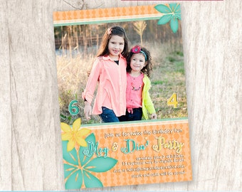 Tropical Combined Birthday Party Photo Invitation, Joint Party Invite, Dual, Tropics - DiY Printable, Print Service Available || Tropicana
