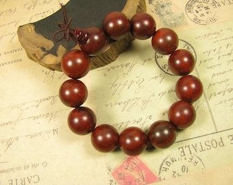 Swartizia Wood Beaded Bracelet Round Beads