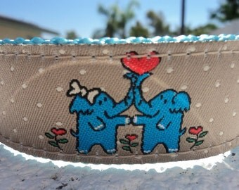 "Sale Dog Collar Elephant Love 1"" width Quick Release buckle adjustable - no martingale limited ribbon"