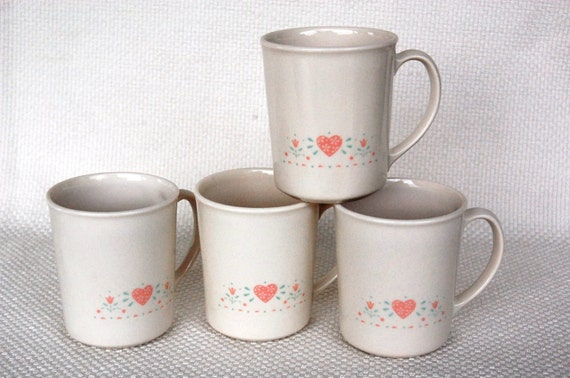 Set of 4 Vintage Corning Mugs FOREVER YOURS Pink Hearts