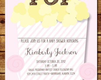Neutral little lamb baby shower invitation beige lamb baby pink ready to pop popcorn baby shower invitation filmwisefo Images