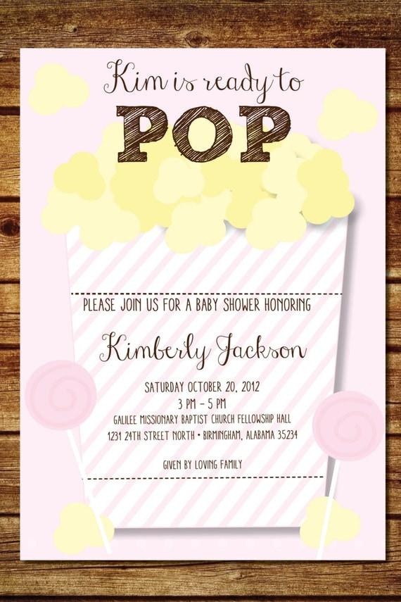 pink ready to pop popcorn baby shower invitation